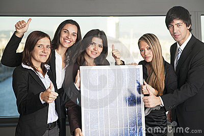 Five business people sell solar energy