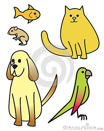 Five Cartoon Pets