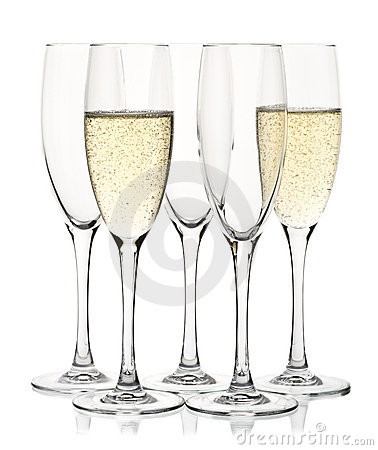 Five champagne glasses
