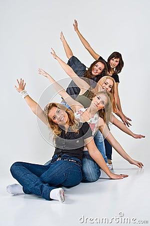 Five cheerful women