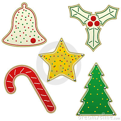 Free Five Christmas Cookies Stock Images - 16011304