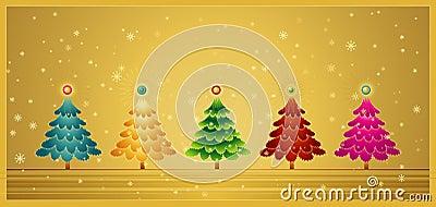 Five christmas tree,vector