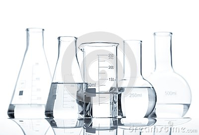 Five classic laboratory flasks with a clear liquid
