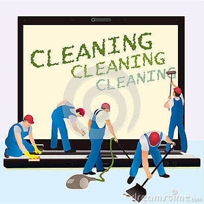 Five cleaners with big notebook dark screen