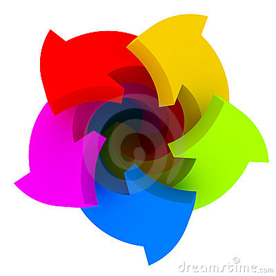 Five color arrows Stock Photo