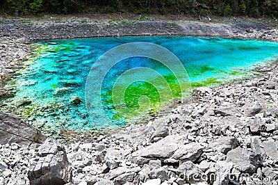 Five Color Pond at Jiuzhaigou, Sichuan, China.