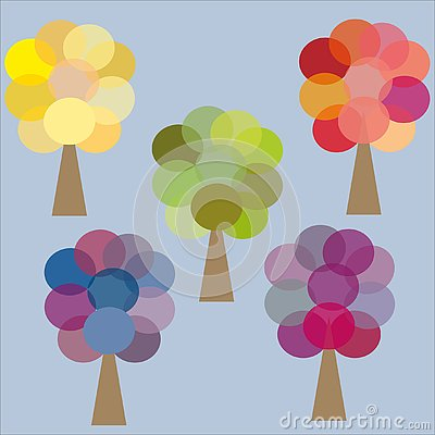 Five color trees yellow green pink lilac blue Vector Illustration
