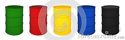 Five colored barrels 3D render