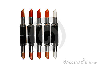 Five colorful lipsticks