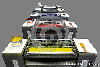 Five colour printing press