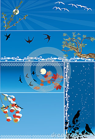 Five compositions with birds on blue