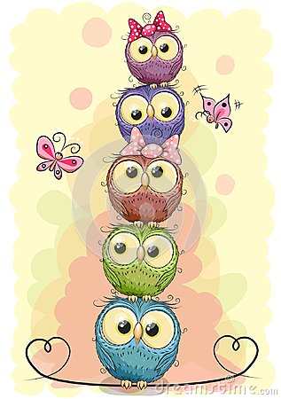 Five cute owls on a yellow background Vector Illustration