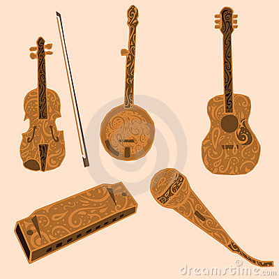 Five decorative musical instruments