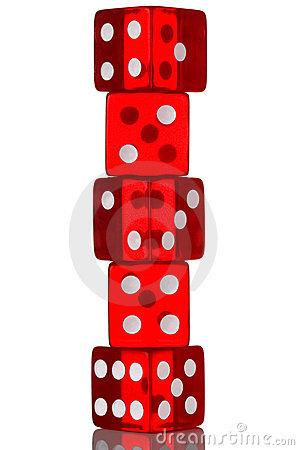 Five dice stack