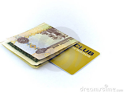 Five Dirham Note and Gold Membership Club Card on