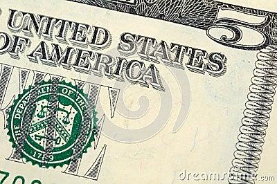 Five dollar bill closeup