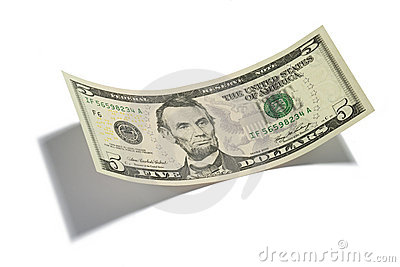 Five Dollar Bill Isolated