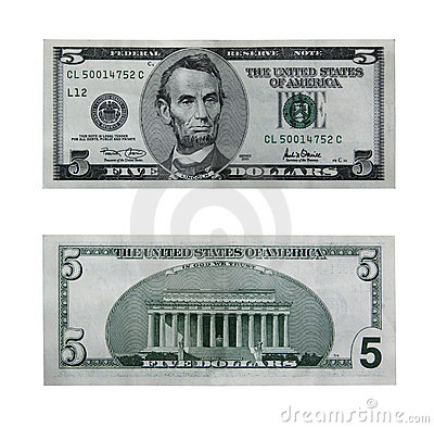 Free Five Dollar Bill With Path Stock Image - 642891