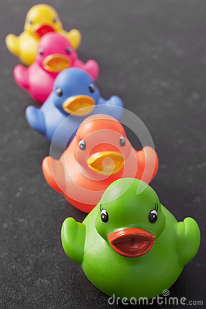 Free Five Ducks In A Row Dark Background Royalty Free Stock Images - 28014129