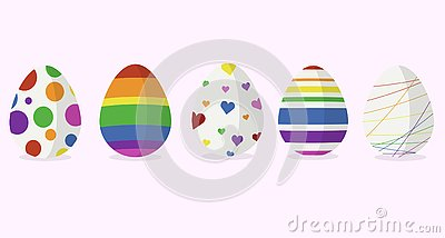 Five easter egg designs in rainbow color Vector Illustration