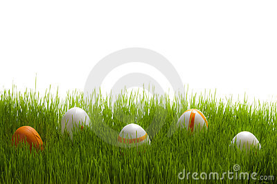 Five easter Eggs on green grass