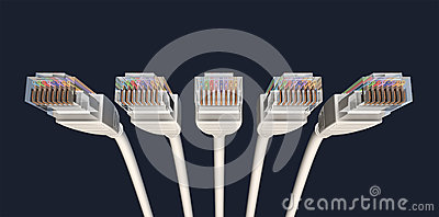 Five Ethernet Cables Unplugged Facing Forwards
