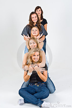 Five Female Friends Playing