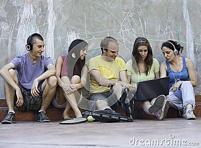 Five friends outdoors