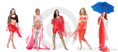 Five girls in red