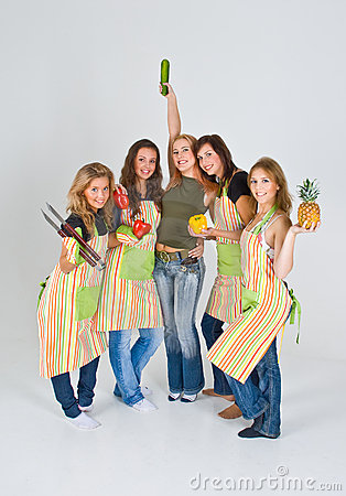 Five happy female cooks