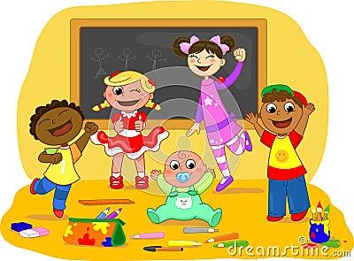 Five happy kids in a school class
