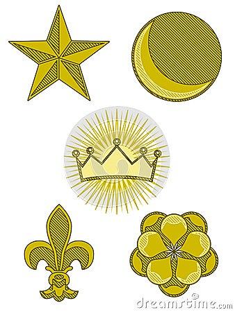 Five heraldry symbols