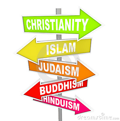 Five Major World Religions On Arrow Signs Stock Image - Image ...
