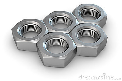 Five metal nuts