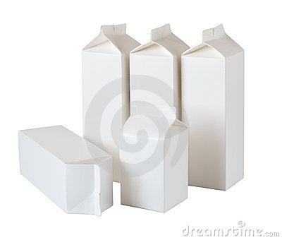 Five Milk Boxes per half liter and liter on White