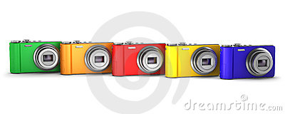 Five multicolor point and shoot photo cameras