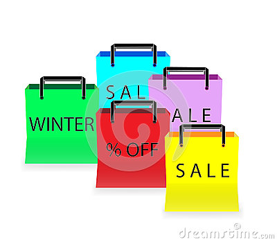 Five multicolored shopping bags