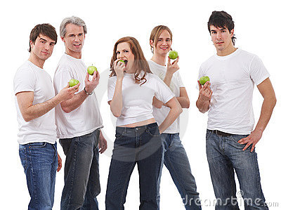 Five people with green apples