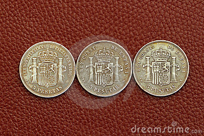 Five pesetas spain old coins