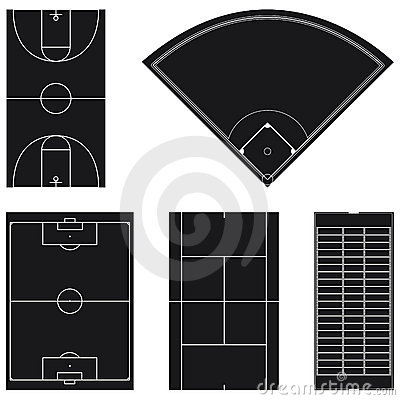 Five popular sport field layouts in black
