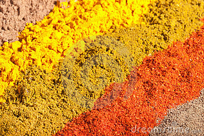 Five raws of flavorful bright spices
