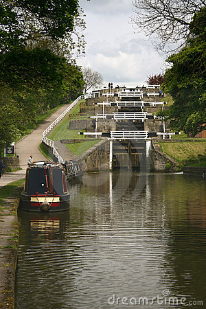 Five rise locks on canal