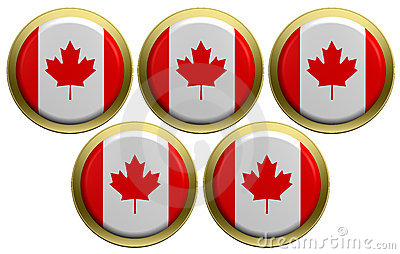 Five round of the Canadian flag isolated on white