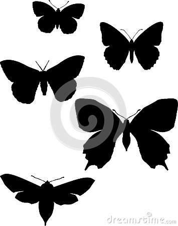Five silhouettes of butterflies