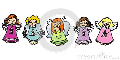 five singing angels on white