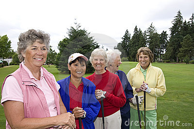 Five Smiling Golfers