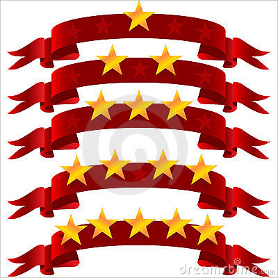 Five star  on ribbon