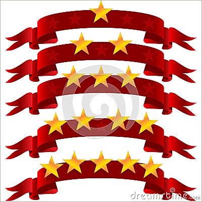Five star  on ribbon