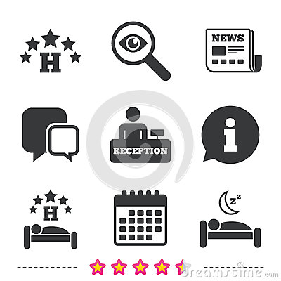 Free Five Stars Hotel Icons. Travel Rest Place. Stock Photography - 87900642