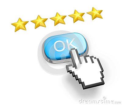 Five stars rating. Button OK and hand cursor.